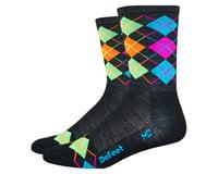 DeFeet Wooleator Hi-Top Sock (Argyle Charcoal/Orange/Blue/Green/Pink)
