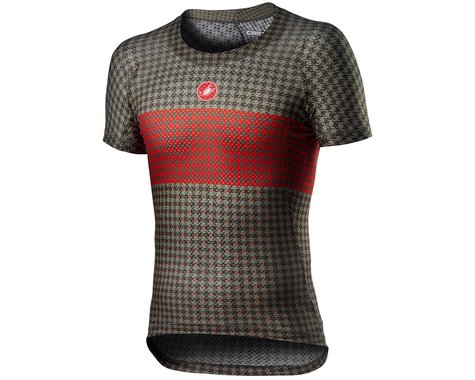 Castelli Pro Mesh M Short Sleeve Base Layer (Bark Green/Fiery Red) (XL)