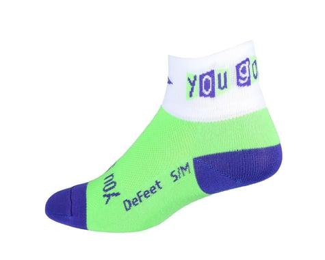 """DeFeet Women's Aireator You Go Girl 2"""" Socks (Green/White)"""
