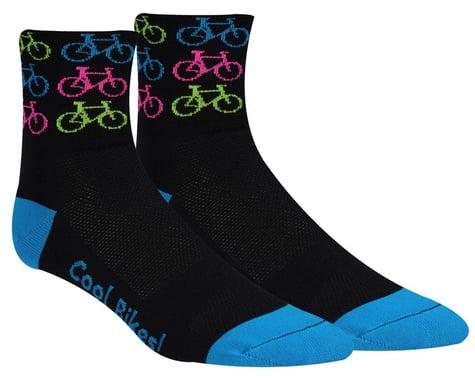 "DeFeet Aireator 3"" D-Logo Socks (Cool Bikes-Pink) (S)"