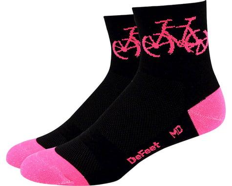 """DeFeet Aireator Women's 3"""" Townee Sock (Black/Flamingo Pink)"""