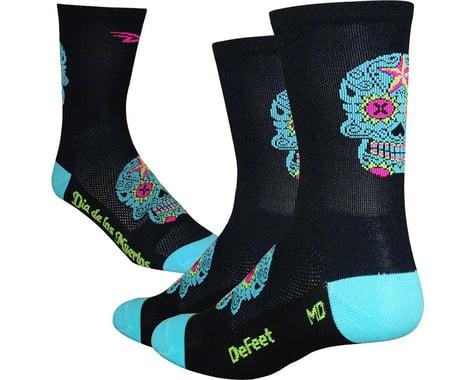 """DeFeet Aireator 5"""" Sugarskull Sock (Black/Blue)"""