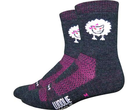 """DeFeet Woolie Boolie 4"""" Baaad Sheep Sock (Charcoal/Neon Pink) (M)"""