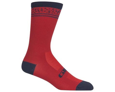 Giro Comp Racer High Rise Socks (Dark Red Lines) (S)