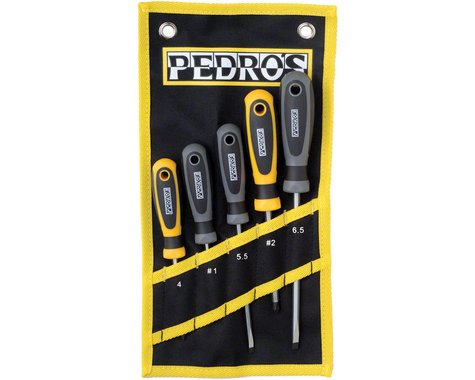 Pedro's Screwdriver Set 5-Piece Bicycle Screwdriver Set With Pouch: Black/Yellow