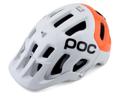POC Tectal Race SPIN NFC Helmet (Hydrogen White/Fluorescent Orange AVIP) (XS/S)