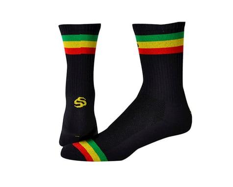 "Save Our Soles Three Little Birds 5"" Socks (Black/Rasta) (M)"