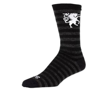 "Sockguy Wool Medieval Unicorn 8"" Crew Sock (Black/Gray)"