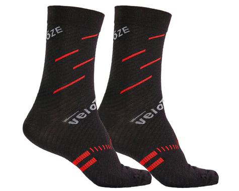 VeloToze Active Compression Wool Socks (Black/Red) (S/M)