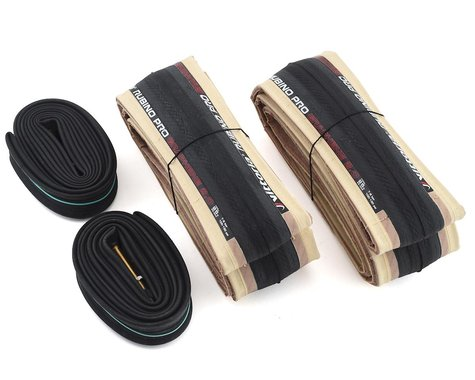 Vittoria Rubino Pro Road Tire Twin Pack (Tan Wall) (w/ Presta Tubes) (700c) (25mm)
