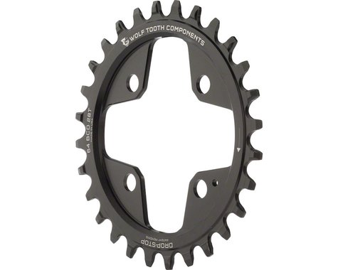 Wolf Tooth Components Drop-Stop Chainring (Black) (64mm BCD) (Offset N/A) (28T)