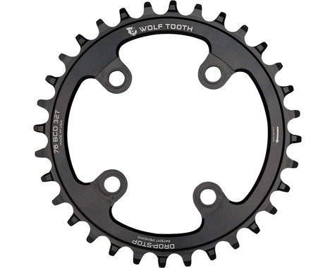 Wolf Tooth Components Drop-Stop Chainring (Black) (76mm BCD) (Offset N/A) (30T)
