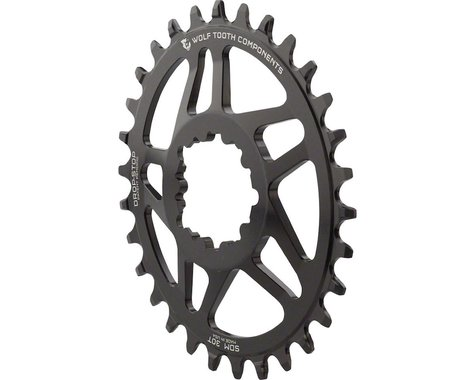 Wolf Tooth Components Powertrac Elliptical Direct Mount SRAM Chainring (Black) (0mm Offset) (30T)
