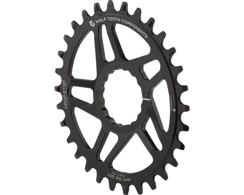 Wolf Tooth Components PowerTrac Drop-Stop Oval Chainring (Black) (Reverse-Dish) (-4mm Offset) (30T)