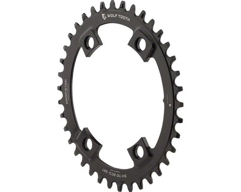Wolf Tooth Components PowerTrac Drop-Stop Oval Chainring (Black) (110mm Asym BCD)