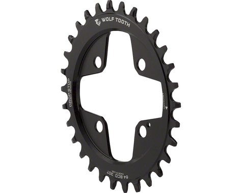 Wolf Tooth Components Powertrac Direct Mount Drop-Stop Oval Chainring (Black) (64mm BCD)
