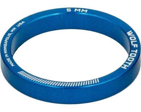 """Wolf Tooth Components 1-1/8"""" Headset Spacers (Blue) (5) (5mm)"""